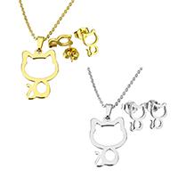 Edelstahl Schmucksets, Ohrring & Halskette, Katze, plattiert, Oval-Kette & für Frau, keine, 15x23x1mm, 1.5x2x0.5mm, 6.5x10x11mm, Länge:ca. 17.8 ZollInch, verkauft von setzen