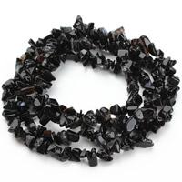 Schwarze Stein Perlen, schwarzer Stein, Klumpen, 5-8mm, Bohrung:ca. 1.5mm, ca. 120PCs/Strang, verkauft per ca. 31 ZollInch Strang