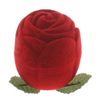 Baumwollsamt Einzelring Kasten, mit Karton, Blume, 40x46mm, verkauft von PC