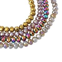 Rondell Kristallperlen, Kristall, bunte Farbe plattiert, facettierte, mehrere Farben vorhanden, 9x7mm, Bohrung:ca. 1mm, Länge:ca. 21.5 ZollInch, 10SträngeStrang/Tasche, ca. 72PCs/Strang, verkauft von Tasche