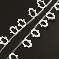 Natürliche weiße Muschelperlen, Hamsa, Islam Schmuck, 11x13x2mm, Bohrung:ca. 0.5mm, ca. 20PCs/Strang, verkauft per ca. 13 ZollInch Strang