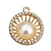 Strass Zinklegierung Perlen, mit Glasperlen, flache Runde, goldfarben plattiert, mit Strass & hohl, frei von Nickel, Blei & Kadmium, 21x24x6mm, Bohrung:ca. 2mm, 100PCs/Menge, verkauft von Menge