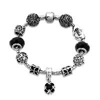 European Armband, Zinklegierung, mit Messingkette & Kristall, plattiert, Armband  Bettelarmband & Schlangekette & für Frau & Emaille & facettierte, frei von Nickel, Blei & Kadmium, 11mm, verkauft per ca. 8.2 ZollInch Strang