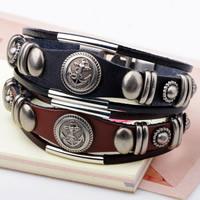 Unisex-Armband & Bangle, Kuhhaut, mit Zinklegierung, plattiert, 3-Strang, keine, frei von Nickel, Blei & Kadmium, 60mm, verkauft per ca. 7.8 ZollInch Strang