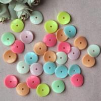Acryl Zwischenperlen, flache Runde, Volltonfarbe, gemischte Farben, 15mm, Bohrung:ca. 1mm, ca. 1500PCs/Tasche, verkauft von Tasche