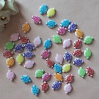 Chemische Wash Acryl Perlen, flachoval, chemische-Waschanlagen, gemischte Farben, 10x14mm, Bohrung:ca. 1mm, ca. 1640PCs/Tasche, verkauft von Tasche