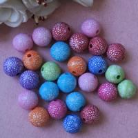 Chemische Wash Acryl Perlen, rund, chemische-Waschanlagen, gemischte Farben, 12mm, Bohrung:ca. 1mm, ca. 570PCs/Tasche, verkauft von Tasche