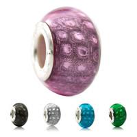 Lampwork Perlen European Stil, Harz, Rondell, Messing-Dual-Core ohne troll & großes Loch, keine, 10x15mm, Bohrung:ca. 5mm, verkauft von PC