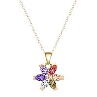 Messing Halskette, Blume, vergoldet, Oval-Kette & für Frau & mit kubischem Zirkonia, frei von Blei & Kadmium, 40cm, verkauft per ca. 15.5 ZollInch Strang