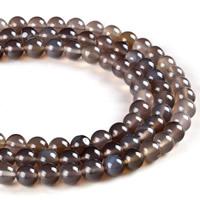 Natürliche graue Achat Perlen, Grauer Achat, rund, verschiedene Größen vorhanden, Bohrung:ca. 1mm, verkauft per ca. 15.5 ZollInch Strang