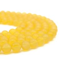 Natürliche gelbe Achat Perlen, Gelber Achat, rund, verschiedene Größen vorhanden, Bohrung:ca. 1mm, verkauft per ca. 15.5 ZollInch Strang