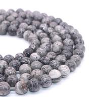 Karte-Stein Perle, rund, verschiedene Größen vorhanden, Bohrung:ca. 1mm, verkauft per ca. 15 ZollInch Strang