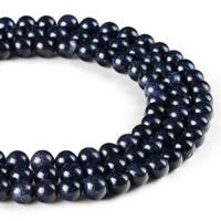 blauer Goldsand Perle, rund, synthetisch, verschiedene Größen vorhanden, Bohrung:ca. 1mm, verkauft per ca. 15 ZollInch Strang