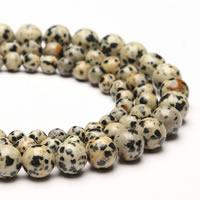 Dalmatiner Perle, rund, synthetisch, verschiedene Größen vorhanden, Bohrung:ca. 1mm, verkauft per ca. 15 ZollInch Strang