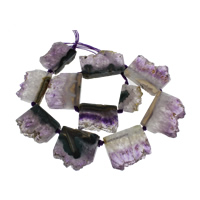 Natürliche Amethyst Perlen, Februar Birthstone, keine, 18x24x7-25x39x8mm, Bohrung:ca. 42mm, 11PCs/Strang, verkauft per ca. 21 ZollInch Strang