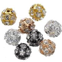 Strass Messing Perlen, rund, plattiert, mit Strass & hohl, keine, frei von Nickel, Blei & Kadmium, 8mm, Bohrung:ca. 1.2mm, 100PCs/Tasche, verkauft von Tasche