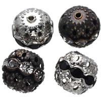 Strass Messing Perlen, rund, plattiert, mit Strass & hohl, keine, frei von Nickel, Blei & Kadmium, 8mm, Bohrung:ca. 1.2mm, 200PCs/Tasche, verkauft von Tasche