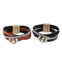 Rindsleder Armband, Kuhhaut, mit Zinklegierung, plattiert, für Frau & mit Strass & Multi-Strang, keine, verkauft per ca. 8 ZollInch Strang
