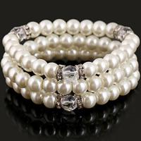 ABS-Kunststoff-Perlen Armband-Set, mit Glas & Zinklegierung, rund, Platinfarbe platiniert, für Frau & facettierte & mit Strass, 25mm, Länge:ca. 6 ZollInch, 3SetsSatz/Menge, 3PCs/setzen, verkauft von Menge