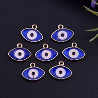 Evil Eye Anhänger, Zinklegierung, blöser Blick, goldfarben plattiert, Emaille, frei von Blei & Kadmium, 7.50x12.50x2mm, Bohrung:ca. 1mm, 100PCs/Tasche, verkauft von Tasche