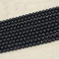 Schwarze Stein Perlen, schwarzer Stein, rund, synthetisch, Nachahmung Achat & verschiedene Größen vorhanden & facettierte, Länge:ca. 15 ZollInch, ca. 3SträngeStrang/Tasche, verkauft von Tasche