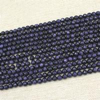 blauer Goldsand Perle, rund, synthetisch, verschiedene Größen vorhanden, Länge:ca. 15 ZollInch, ca. 3SträngeStrang/Tasche, verkauft von Tasche
