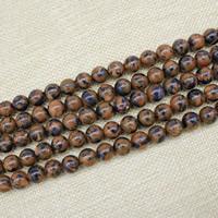 Goldsand Perle, rund, synthetisch, verschiedene Größen vorhanden, Länge:ca. 15 ZollInch, ca. 3SträngeStrang/Tasche, verkauft von Tasche