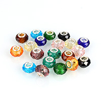 European Kristall Perlen, Rondell, Messing-Dual-Core ohne troll & facettierte, gemischte Farben, 8.50x13.50x13.50mm, Bohrung:ca. 4.8mm, 100PCs/Menge, verkauft von Menge