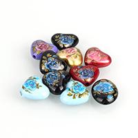 Harz Schmuckperlen, Herz, Drucken, gemischte Farben, 19x16x8mm, Bohrung:ca. 2.5mm, 10PCs/Menge, verkauft von Menge