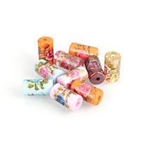 Harz Schmuckperlen, Zylinder, Drucken, gemischte Farben, 9x16x9mm, Bohrung:ca. 2.5mm, 10PCs/Menge, verkauft von Menge