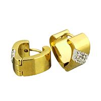 Huggie Ohrreifen, Edelstahl, mit Ton, goldfarben plattiert, 7x14x15mm, 12PaarePärchen/Tasche, verkauft von Tasche