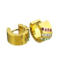 Huggie Ohrreifen, Edelstahl, mit Ton, goldfarben plattiert, 7x13x14mm, 12PaarePärchen/Tasche, verkauft von Tasche