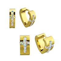 Huggie Ohrreifen, Edelstahl, mit Ton, goldfarben plattiert, verschiedene Größen vorhanden, 12PaarePärchen/Tasche, verkauft von Tasche