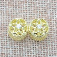 925 Sterlingsilber European Perlen, 925 Sterling Silber, Blume, vergoldet, ohne troll & mit kubischem Zirkonia & hohl, Bohrung:ca. 4.5-5mm, verkauft von PC