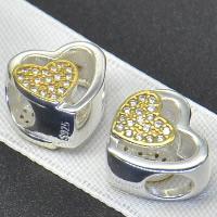 925 Sterlingsilber European Perlen, 925 Sterling Silber, Herz, plattiert, ohne troll & mit kubischem Zirkonia & hohl, Bohrung:ca. 4.5-5mm, verkauft von PC