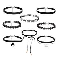 Mode-Halskette, Wollschnur, mit Kristall Faden & Zinklegierung, mit Verlängerungskettchen von 1.9lnch, plattiert, für Frau & Emaille, frei von Nickel, Blei & Kadmium, Länge:ca. 11.8-12.2 ZollInch, 8SträngeStrang/setzen, verkauft von setzen