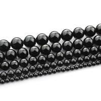 Natürliche schwarze Achat Perlen, Schwarzer Achat, rund, verschiedene Größen vorhanden, verkauft per ca. 15 ZollInch Strang