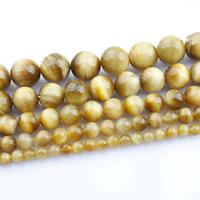 Tigerauge Perlen, rund, natürlich, verschiedene Größen vorhanden, gelb, verkauft per ca. 15 ZollInch Strang