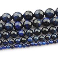 Tigerauge Perlen, rund, natürlich, verschiedene Größen vorhanden, blau, verkauft per ca. 15 ZollInch Strang