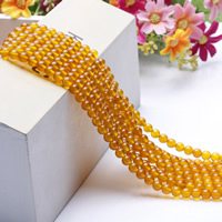 Natürliche gelbe Achat Perlen, Gelber Achat, rund, verschiedene Größen vorhanden, Länge:ca. 15.5 ZollInch, ca. 2SträngeStrang/Tasche, verkauft von Tasche