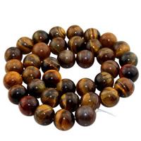 Tigerauge Perlen, rund, natürlich, verschiedene Größen vorhanden, Bohrung:ca. 1mm, verkauft per ca. 15 ZollInch Strang