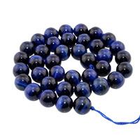Tigerauge Perlen, rund, natürlich, verschiedene Größen vorhanden, blau, Bohrung:ca. 1mm, verkauft per ca. 15 ZollInch Strang