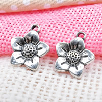 Zinklegierung Blume Anhänger, antik silberfarben plattiert, frei von Blei & Kadmium, 14.5x16.5mm, Bohrung:ca. 1-1.5mm, 200PCs/Tasche, verkauft von Tasche