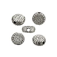 Zinklegierung flache Perlen, flache Runde, antik silberfarben plattiert, frei von Nickel, Blei & Kadmium, 5x2mm, Bohrung:ca. 0.7mm, 500PCs/Menge, verkauft von Menge