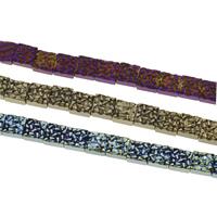 Nicht-magnetische Hämatit Perlen, mit Non- magnetische Hämatit, Quadrat, plattiert, keine, 8x4mm, Bohrung:ca. 0.5mm, ca. 48PCs/Strang, verkauft per ca. 15 ZollInch Strang