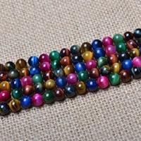 Tigerauge Perle, rund, verschiedene Größen vorhanden, farbenfroh, Bohrung:ca. 1mm, verkauft per ca. 15 ZollInch Strang