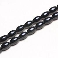 Schwarzer Achat Perle, oval, verschiedene Größen vorhanden, Bohrung:ca. 1mm, verkauft per ca. 15 ZollInch Strang