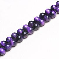 Tigerauge Perle, rund, verschiedene Größen vorhanden, violett, Bohrung:ca. 1mm, verkauft per ca. 15 ZollInch Strang