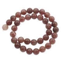 Strawberry Quartz Perle, rund, natürlich, verschiedene Größen vorhanden, Bohrung:ca. 1mm, verkauft per ca. 15 ZollInch Strang