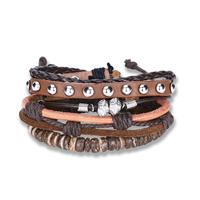 comeon® Schmuck Armband, Kuhhaut, mit Gewachste Nylonschnur & Holz & Zinklegierung, plattiert, unisex & einstellbar, Länge:ca. 7 ZollInch, 3SträngeStrang/setzen, verkauft von setzen